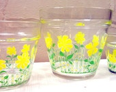 1960's Sunny Yellow Floral Culver Planters/Pots