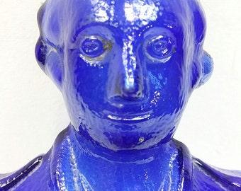 1970s Cobalt Blue Liquor Bottle George Washington
