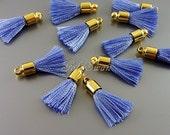 4 serenity blue / periwinkle blue & gold bail 18mm tassels, jewelry tassels, tassel necklace pendants 2049G-PW