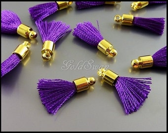 4 pcs elegant purple color tassel charms, purple tassels with gold bail 2049G-PU