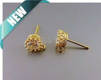2 round 6mm CZ stone in gold crown design setting, stud earrings 2075-BG