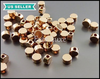 8 tiny 4mm shiny rose gold button beads, circle beads, round beads, rondelle beads, beaded jewelry 1806-BRG-4