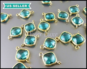 2 sea green blue glass connectors with gold frame, glass crystal links, necklace charm 5063G-SG
