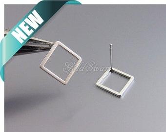 4 pcs (2 pairs) matte silver delicate diamond shape stud earrings, geometric jewelry earrings 2030-MR-13