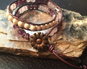Leather Wrap Bracelet Double-wrap with Semi-precious Stones of Amethyst Rose Quartz and Polished Riverstones