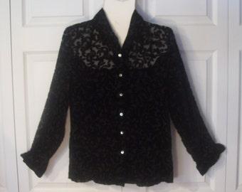 Vintage 90s, Black Velvet Burnout Blouse, Merona, Sheer Paisley Pattern, Size M, Long Sleeves, Shell Buttons, Boho Gypsy Spirit, Sexy Goth