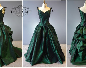 corset gown-bustle gown-interview with a vampire gown-green-gothic-bustle-crimson peak-denver custom gown-alternative-wedding-masquerade