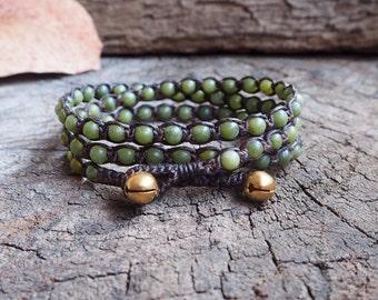 Lime Jade Triple Wrap Bracelet