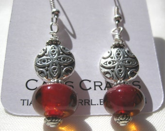 Earrings amber Glass Bead tibetan silver bead silver plated fish hook Handcrafted Jewelry circle bead