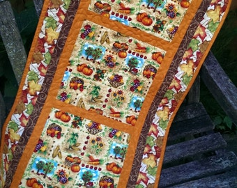 "Quilted Table Runner - 17"" x 37"" Pumpkins and Sunflowers Autumn"
