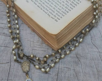 Upcycled Vintage Multi Pearl Rosary Assemblage Necklace, ooak,Repurposed, Religious Assemblage