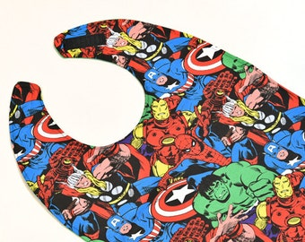 Super Hero Youth Bib Special Needs Boy Bib Childs Craft Supply Marvel Bib Teen Clothes Protector, Made From Marvel Fabric