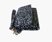 Black Gray Trifold Phone Wristlet Wallet - Cushioned Phone Wallet Pouch - Padded Wristlet - Smartphone Wallet - Phone Clutch