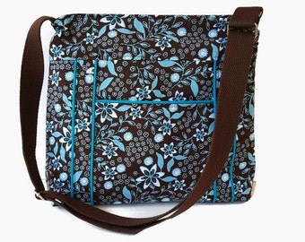 Messenger Bag Brown and Turquoise - Brown Cross Body Purse - Turquoise Shoulder Bag - Womens Handbag - Outside Pocket - Adjustable Strap
