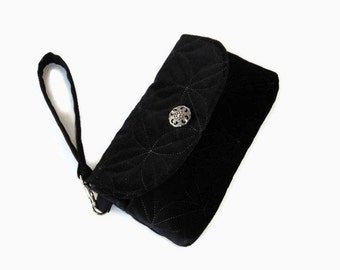 Black Velveteen Evening Bag - Black Wristlet Pouch - Evening Clutch - Formal Black Wristlet - Velveteen Clutch - Dressy Wristlet Handbag