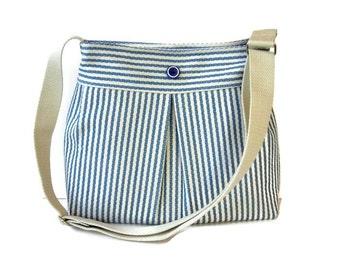 Blue and Cream Striped Crossbody Bag - Upholstery Fabric Messenger Purse - Pleated Shoulder Bag - Adjustable Strap - Blue Handbag