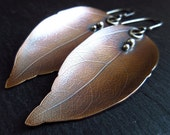Bronze leaf earrings, leaf vein texture, silver and bronze, metalwork earrings, oxidized finish, bronze wedding anniversary, mixed metal