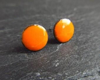 orange enamel stud earrings, enamel posts, orange earrings, enamel on copper, torch enamel jewelry, studs, enameled discs, dot earrings