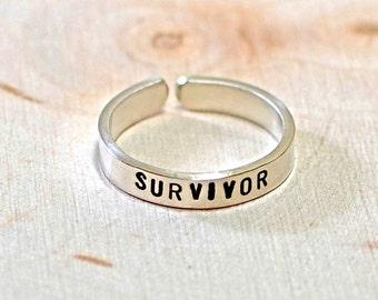 Cancer survivor sterling silver toe ring - solid 925 TR885