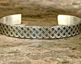 Woven Sterling Silver Cuff Bracelet with Cross Weave Pattern - solid 925 BR337