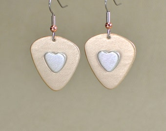 Guitar pick dangle earrings with sterling silver hearts - ER451