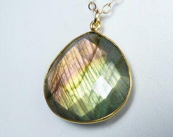 Large Labradorite Necklace, Faceted Bezel Set Labradorite Pendant with Rare Purple, Pink, Green, Gold, and Peach Flash, Gold Bezel and Chain