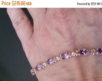 Stunning Amethyst Gold Bracelet --FREE Gift Wrap -- Great Mothers Day GIft