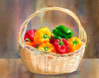 Watercolor Painting, art, Green and Red Peppers, still life,  Watercolor Art, original painting, peppers, watercolor peppers10 x 14 inches