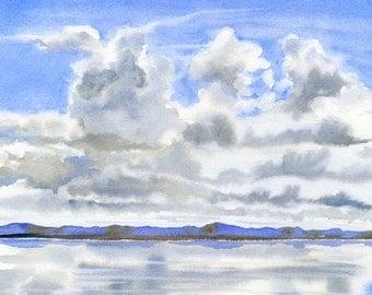 Cloudy Sky, Watercolor Art, Watercolor Painting, Original Watercolor, Watercolor Landscape, Mountains & Reflections, Landscape Painting
