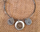 Bracelet for Britt Carlson Only, Custom Order, Wisconsin Heart and Home Charm Bracelet, University of Wisonsin, Wisconsin Jewelry, WI Bangle
