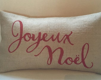 burlap Joyeux Noel pillow cover hessian cushion cover