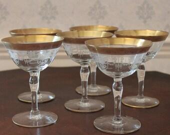 Set of 6 Vintage Etched Gold Rimmed Tiffin Franciscan Champagne Coupe Glasses