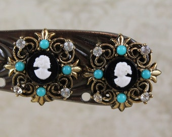 Vintage Black and White Cameo Turquoise, Rhinestone Filigree Golden Clip On Earrings
