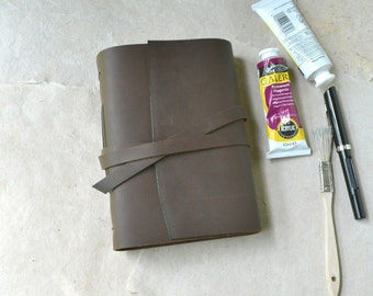 Brown Leather Journal with Watercolor Paper