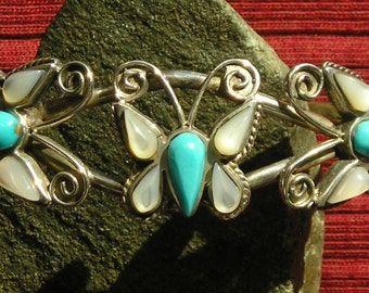 Southwest Sterling Silver Turquoise Mother of Pearl Butterfly Cuff Bracelet
