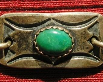 Navajo Stamped Sterling Silver Turquoise Link Bracelet