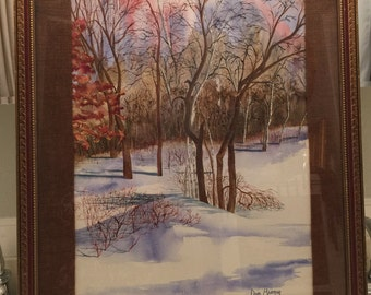 Vintage Fantasy Winter Watercolor Painting by Dave Beaman Signed