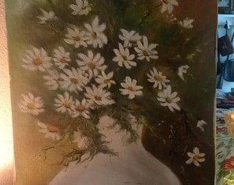 "Vintage Floral Daisy Painting Artist signed V Coomtz 12 x 24"""