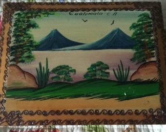 Vintage Hand Painted Pyrography Box Guatemala Mid Century