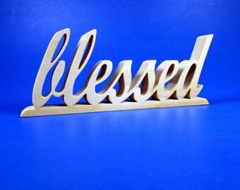 blessed / Word Art / Shelf Sitter / Poplar Wood