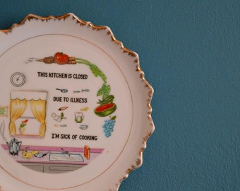 Vintage Funny Decorative Plate- Kitchen Closed