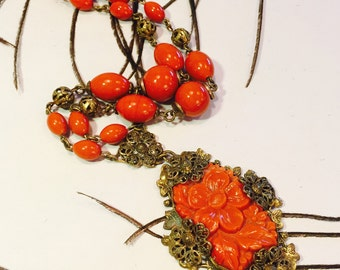 Beautiful Art Nouveau Art Deco Molded Orange Coral Art Glass Necklace Art Nouveau Jewelry