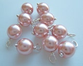 10 - Hand wrapped 8mm Victorian Rose w/Silver Glass Pearl Dangles-Charms
