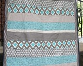 Patchwork Baby Quilt/Lap Quilt in Blue, Teal, Grey, and Brown