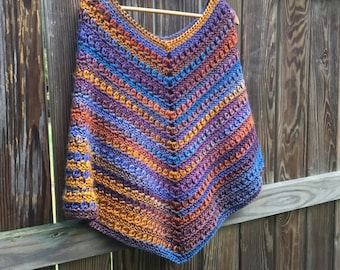 Cozy Poncho in Warm Autum Colors, Blue, Purple, Brown