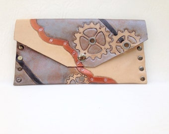 Tooled Steampunk Leather Wallet