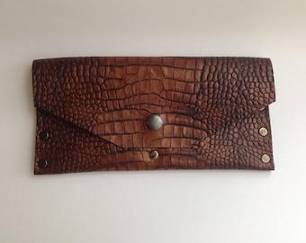 Rusted Brown Alligator Clutch