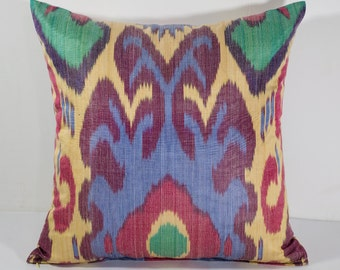 15x15 colorful ikat pillow cover, red, green, blue, yellow, cushion case, ikat, ikats, pillows, sofa pillow, interior cushions, ikat design