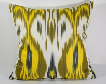 15x15 ikat pillow cover, olive and yellow, cushion case, ikat, ikats, pillows, sofa pillow, interior cushions, ikat design, olive pillows