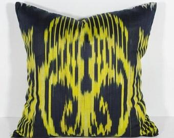 15x15 yellow black cotton ikat pillow cover, ikat, pillows, ikat pillow cover, yellow pillow, yellow cushion, yellow black, yellow ikat